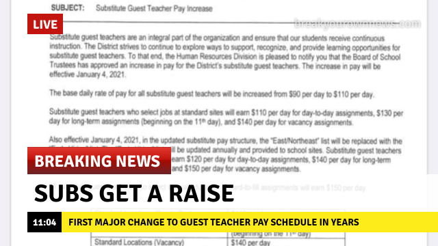 BREAKING NEWS: Subs get a raise